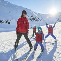 Ski lessons for the kids up Mt Hutt