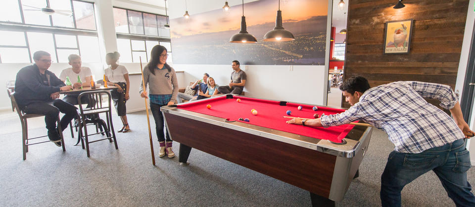 Pool table and games area