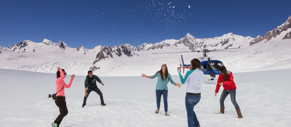 Let out your inner child and have a snowball fight during your snow landing