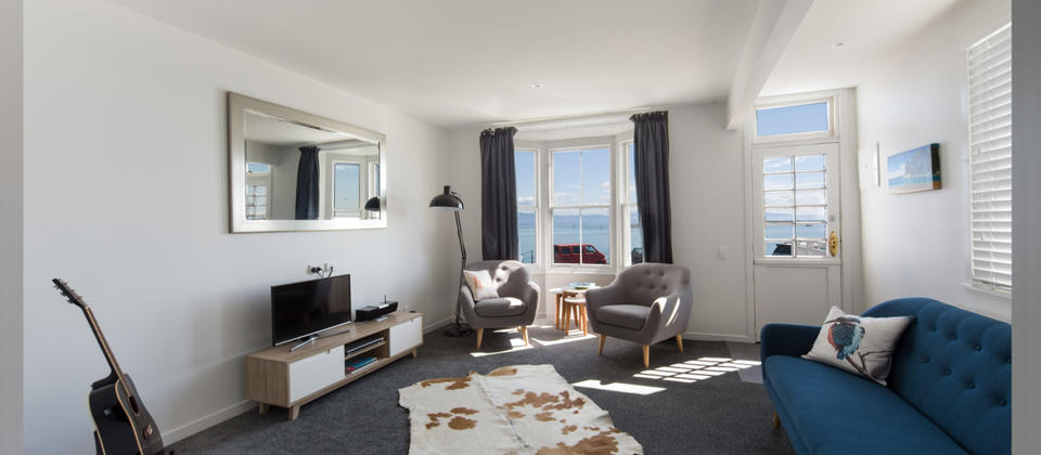 Living area with views over the Nelson Harbour entrance
