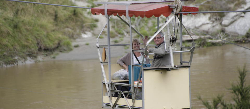 Arrive in style, crossing the river from our car park on the Flying Fox.