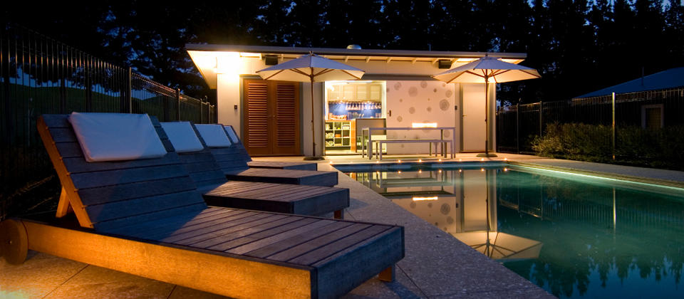 Millar Road, Hawke's Bay - Pool bar at night