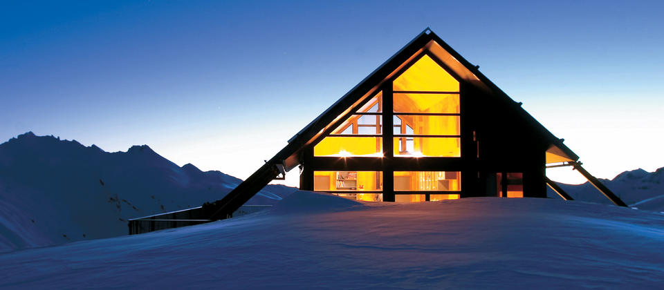 Spend a night at this remote eco-chic chalet, set at 1,750 metres on the edge of Mount Aspiring National Park.