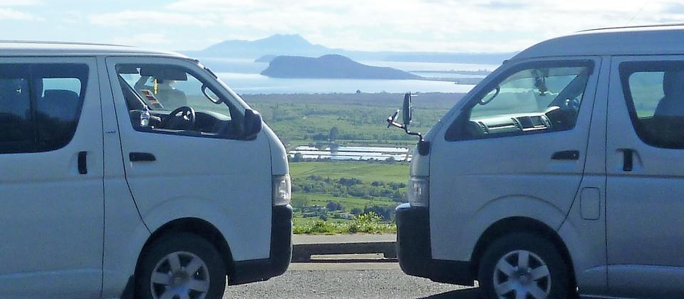 Backyard Tours Vans looking from the Southern end of Lake Taupō.