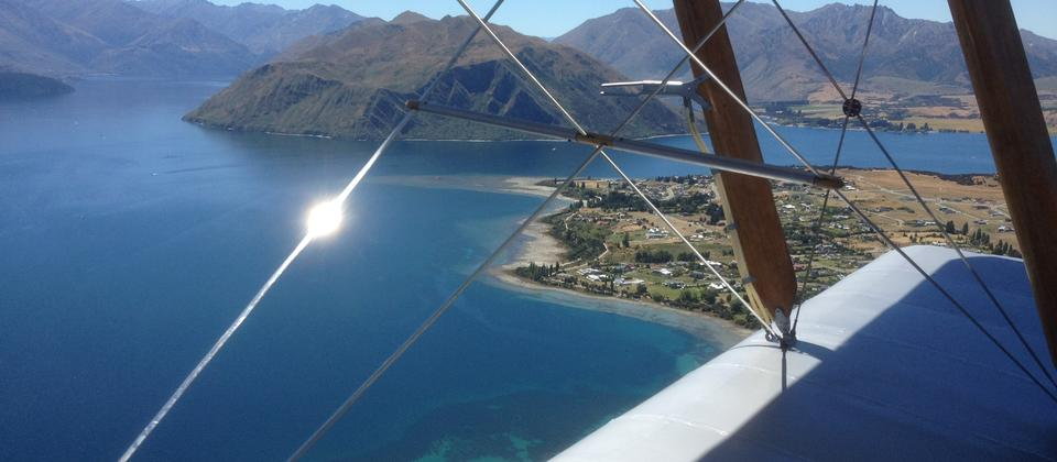 A unique perspective of Lake Wanaka, as seen from the front seat of the vintage 1941 Tigermoth