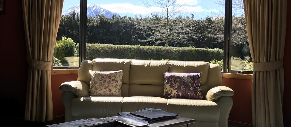 Private Lounge with fabulous views of Mt Somers
