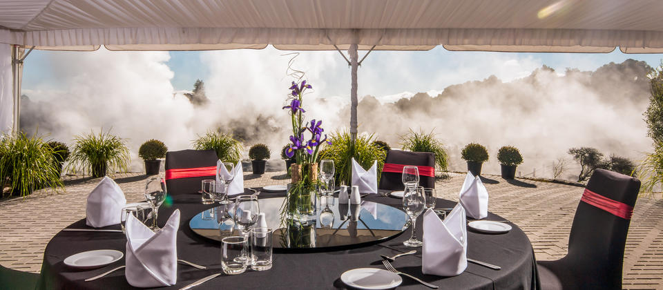 The Pohutu geyser marquee, one of the most unique places to eat  in New Zealand.