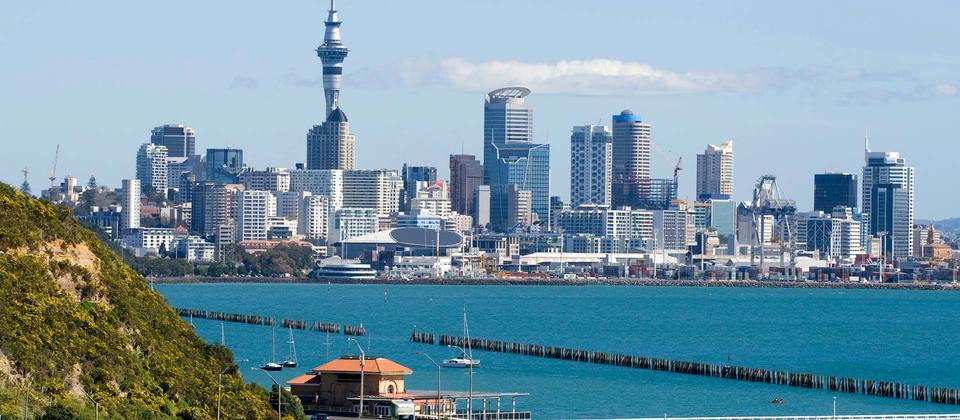 Travel along Tamaki Drive on the waterfront to Bastion Point