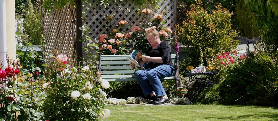Relaxing in front garden at Nest Haven Bed and Breakfast Napier