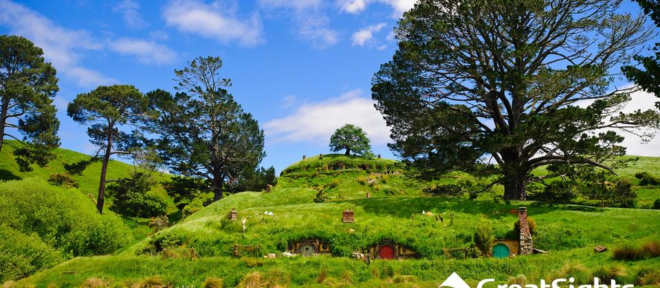 Picturesque scenery at Hobbiton