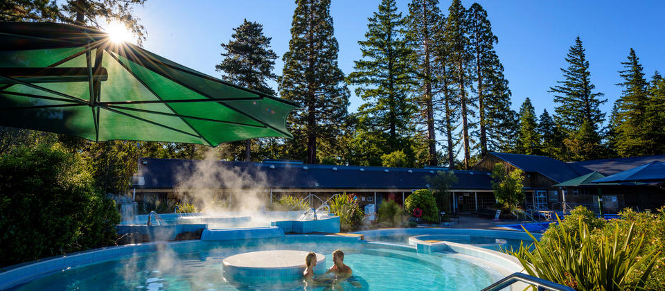 Relaxing in the thermal pools at Hanmer Springs.