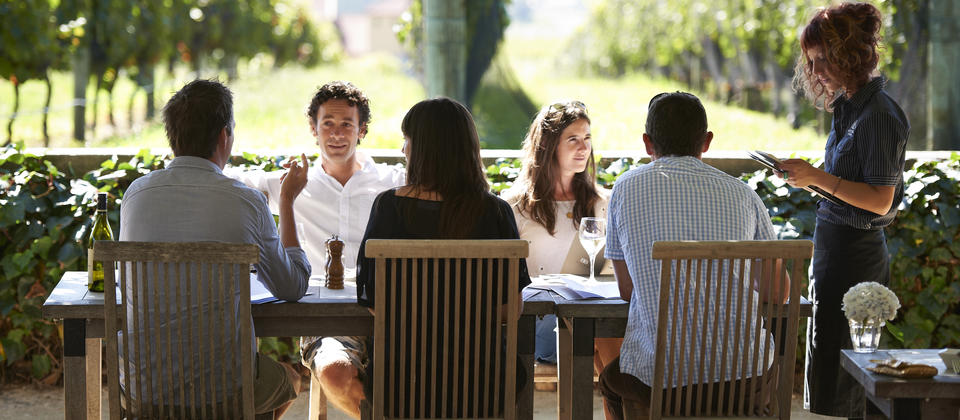 Summer dining in the courtyard of Black Barn Bistro