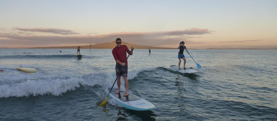 Stand-up paddleboarding in Takapuna
