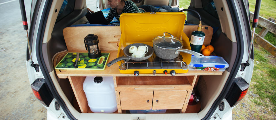 The kitchen area in the Two Berth Camper - everything you need to cook up a storm!