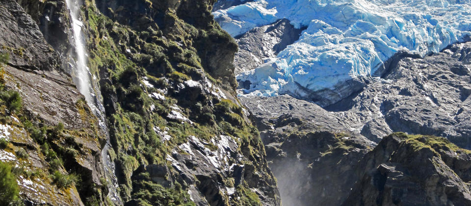 Waterfalls tumble from the Rob Roy Glacier to feed the Mt Aspiring National Parks pristine rivers.