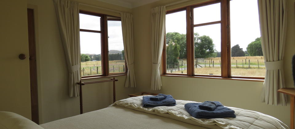 Main bedroom with views over farmland