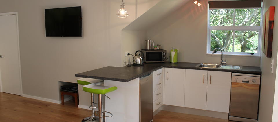 "Kitchenette with breakfast bar, microwave, sink, fridge/freezer and dishwasher. 42""TV and DVD player on the wall."