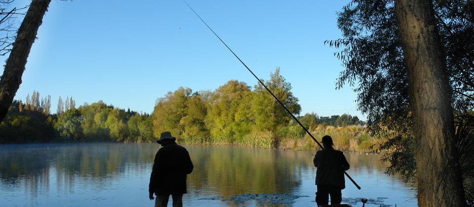 Out Early Fishing on Kaiapoi Lakes