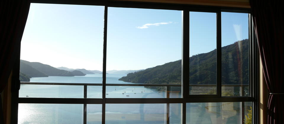 Room 1 with spectacular panoramic views of the Queen Charlotte Sound.