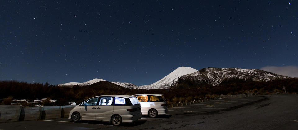 Two berth Mode Campers get ready for the night in Tongariro National Park