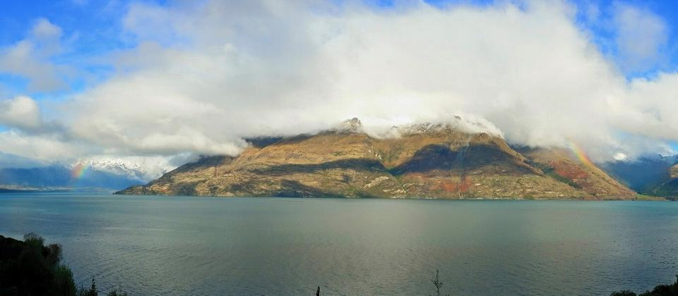 Full rainbow of the Remarkables near Queenstown.