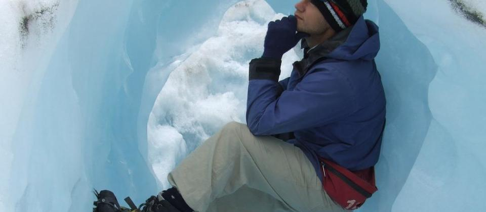Taking a rest on a glacier hike.
