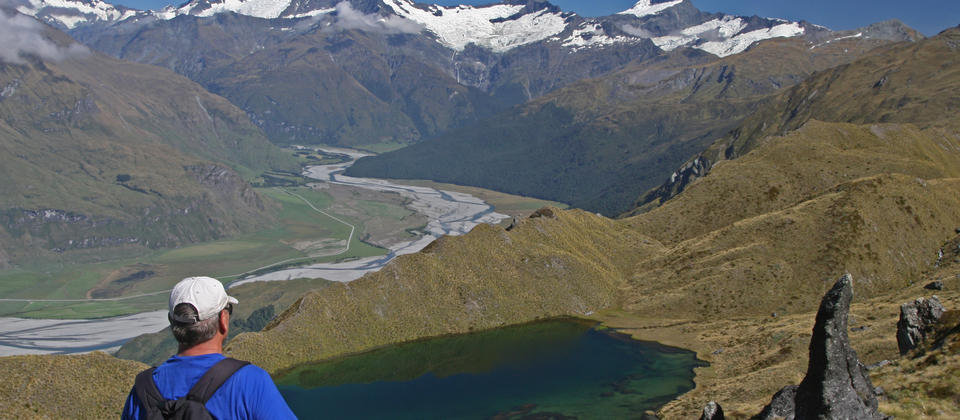 View over Alpine Lakes towards Mt Aspiring