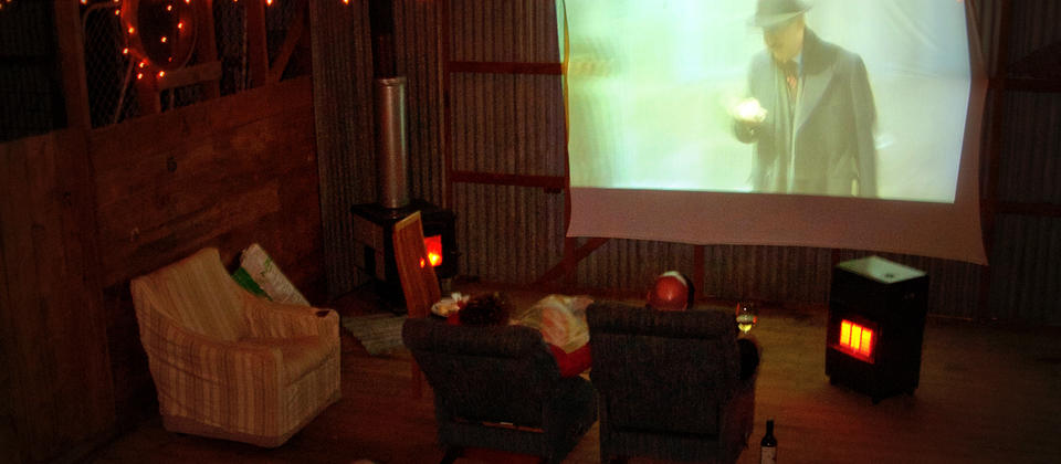 The Wool Shed movie theatre is available to use and very popular with guests
