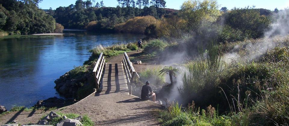 Start of walk to Huka Falls from Spa Park