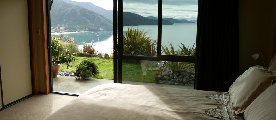 Room 5 Honeymoon Suite with ensuite and private sitting room. Spectacular views. Direct access to the garden.