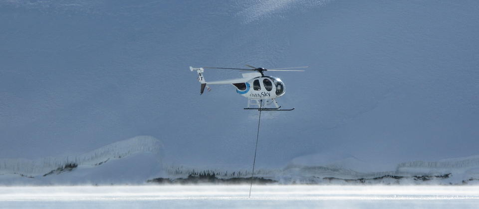 Fly My Sky helicopter in Mt Ruapehu Crater Lake taking water samples