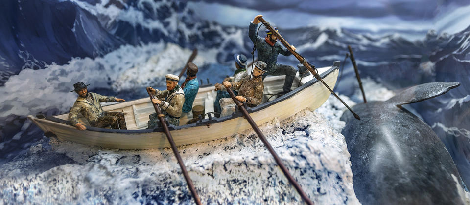 A series of dioramas illustrate the processes of whaling.