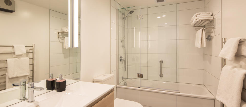 2 bathrooms in each apartment (one as an ensuite shower room to the master bedroom).