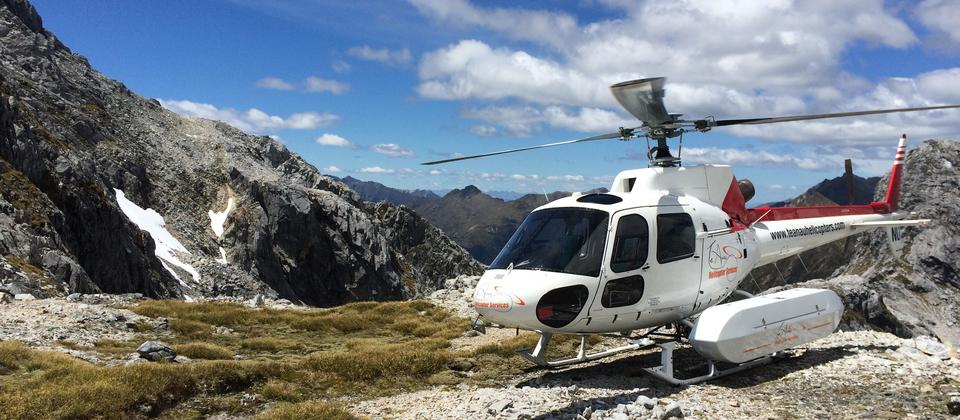 Helicopter scenic flight with Te Anau Helicopter Services.