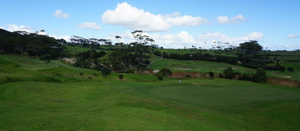 The golf course encompasses a variety of terrains from rolling vales to challenging water holes.