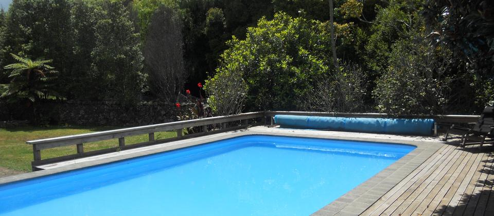 Swimming pool in a private garden area available for all Lupton Lodge guests to use.