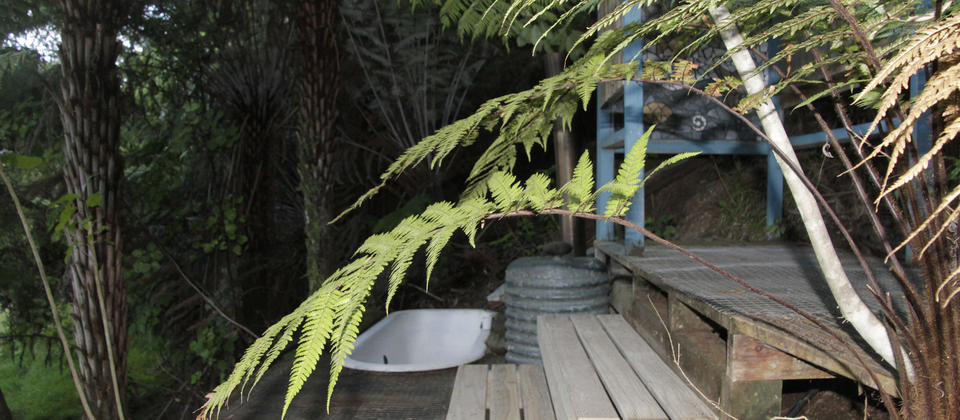 One of the outdoor wood fired bush baths.