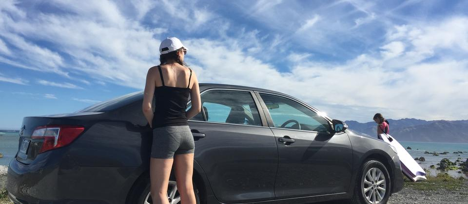 A customer enjoying her late-model Camry in Kaikoura.