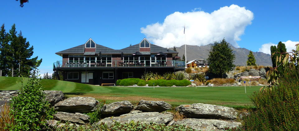 The putting green and clubhouse