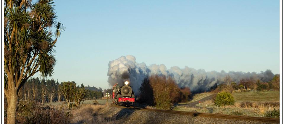 Ab608 in action on a still frosty morning leaving a magnificent exhaust trail