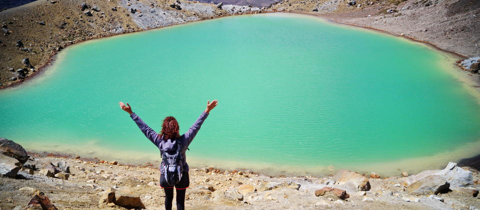We pass along the Tongariro Alpine Crossing - a section of the multi-day North Circuit route - passed the Emerald Lakes