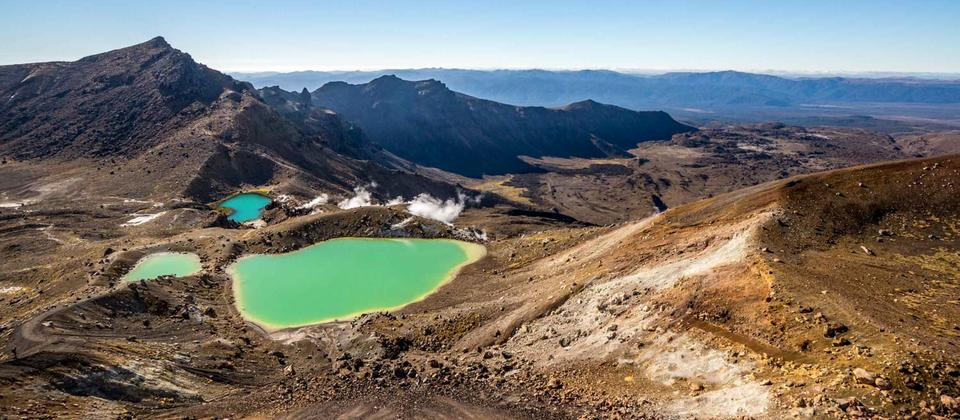 The Beautiful Emerald Lakes from the top of Red Crater
