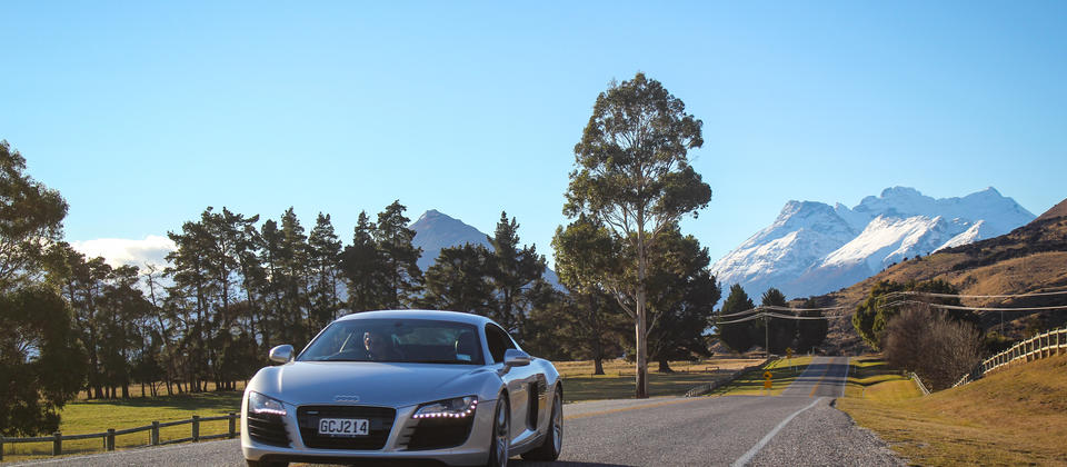 Ignition Self Drive Adventures - Audi R8 on the road to Glenorchy.