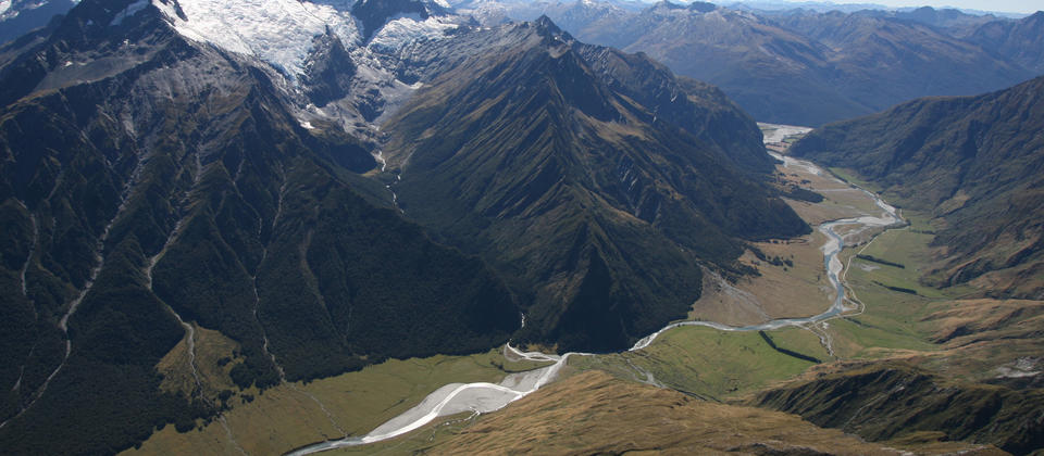Aerial view of the Rob Roy Valley, Mt Aspiring National Park.
