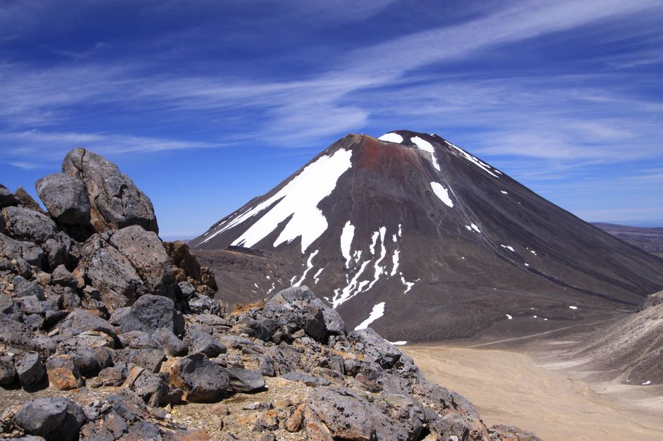 the climb up to red crater looking back to Mt Ngauruhoe