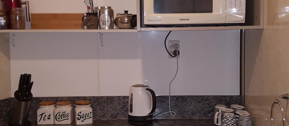 Micorwave, 2 ring hob, fridge/freezer, air frier