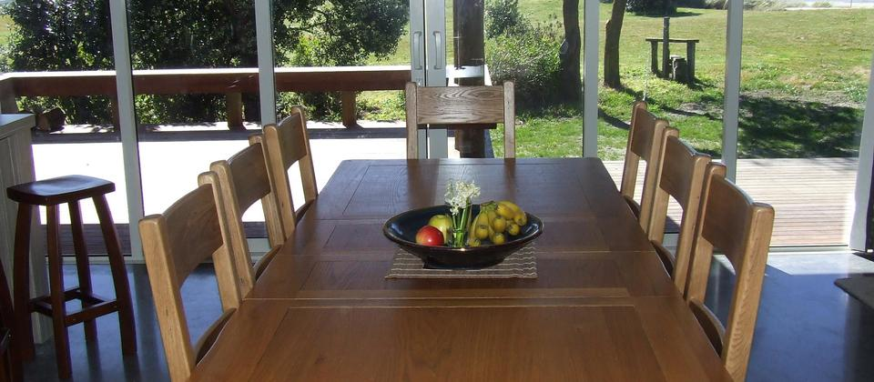 Dining area, to Waimarama Beach