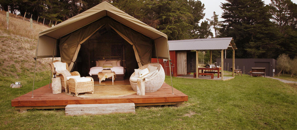 The luxury tent at Tuki Tuki Valley
