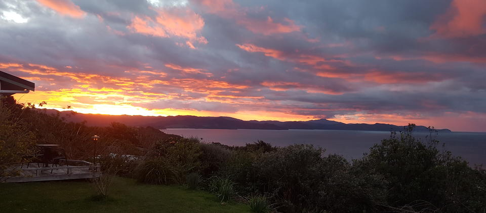 One of many glorious sunsets over the Coromandel ranges