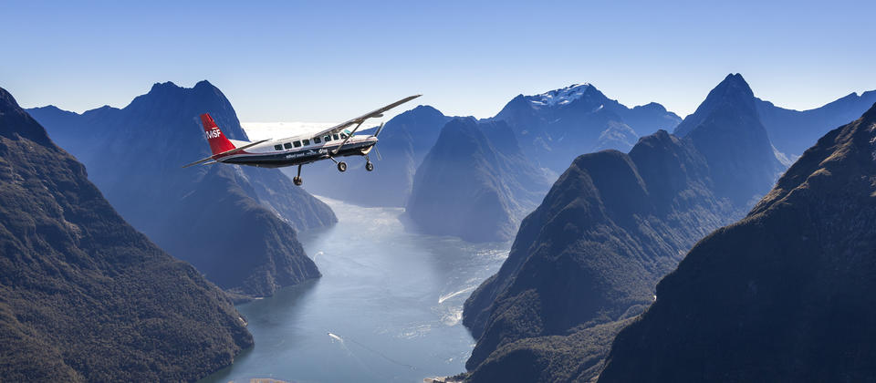 Take a scenic flight over the Southern Alps to Milford Sound and across Fiordland.